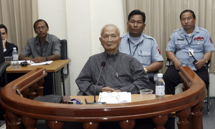 Nuon Chea, Pol Pot's right hand man of the Khmer Rouge regime,sits in the dock during his first public appearance at the Extraordinary Chambers in the Courts of Cambodia (ECCC) on the outskirts of Phnom Penh Feb. 4, 2008. (Chor Sokunthea/Reuters)