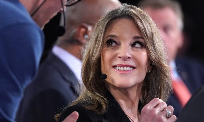 Democratic presidential candidate Marianne Williamson prepares for a television interview after the Democratic Presidential Debate at the Fox Theatre July 30, 2019 in Detroit, Mich. (Scott Olson/Getty Images)