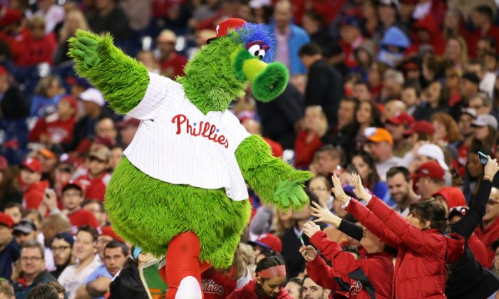 The Phillie Phanatic entertains some fans in the seventh inning during a game between the Philadelphia Phillies and the Washington Nationals at Citizens Bank Park on Apr. 16, 2016 in Philadelphia, Pa. The Nationals won 8-1. (Hunter Martin/Getty Images)