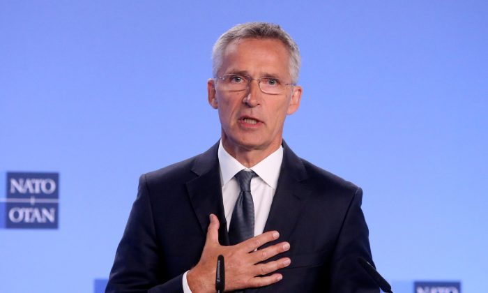 NATO Secretary-General Jens Stoltenberg gives a news conference on the day the United States is set to pull out of the Intermediate-range Nuclear Force Treaty (INF), in Brussels, Belgium, Aug. 2, 2019. (Reuters/Francois Walschaerts)