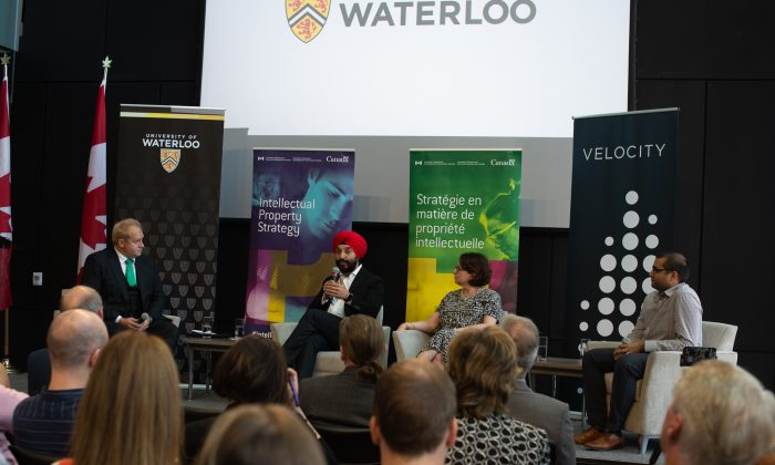 Minister of Innovation, Science and Economic Development Navdeep Bains (2nd L) introduced three intellectual property initiatives at the University of Waterloo on Aug. 1, 2019. (Courtesy University of Waterloo)