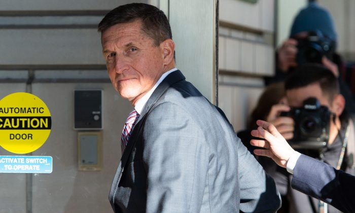 Former US National Security Adviser Lt. Gen. Michael Flynn arrives for his sentencing hearing at U.S. District Court in Washington on Dec. 18, 2018. (Saul Loeb/AFP/Getty Images)