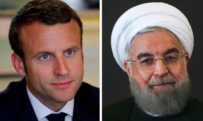 A combination of file photos showing French President Emmanuel Macron attending a meeting at the Elysee Palace in Paris, France, on May 23, 2017, and Iran President Hassan Rouhani looking on at the Campidoglio palace in Rome, Italy, on Jan. 25, 2016. (Philippe Wojazer/Alessandro Bianchi//File Photo/Reuters)