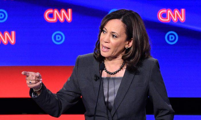Sen. Kamala Harris (D-Calif.), a 2020 presidential candidate, speaks at a debate in Detroit, Michigan on July 31, 2019. (Jim Watson/AFP/Getty Images)