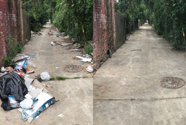 """Before"" and ""after"" images of an alley during a trash cleanup event in Baltimore"