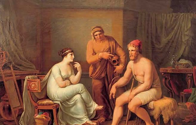 """After Odysseus's life lessons conclude, he is finally able to reunite with his beloved Penelope, his soul. """"Odysseus and Penelope"""" by Johann Heinrich Wilhelm Tischbein. (Public Domain)"""
