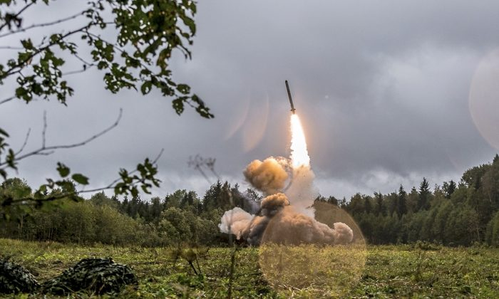 This undated file photo provided Sept. 19, 2017, by Russian Defense Ministry official web site shows a Russian Iskander-K missile launched during a military exercise at a training ground at the Luzhsky Range, near St. Petersburg, Russia. (Russian Defense Ministry Press Service via AP/File)