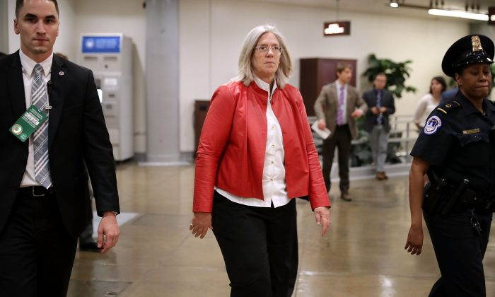 Principal Deputy Director of National Intelligence Sue Gordon (C) arrives to brief members of the so-called 'Gang of Eight' at the U.S. Capitol in Washington on May 24, 2018. (Chip Somodevilla/Getty Images)
