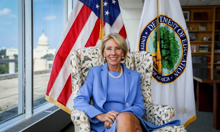 Betsy DeVos in her office in Washington on July 16, 2019. (Samira Bouaou/Epoch Times)
