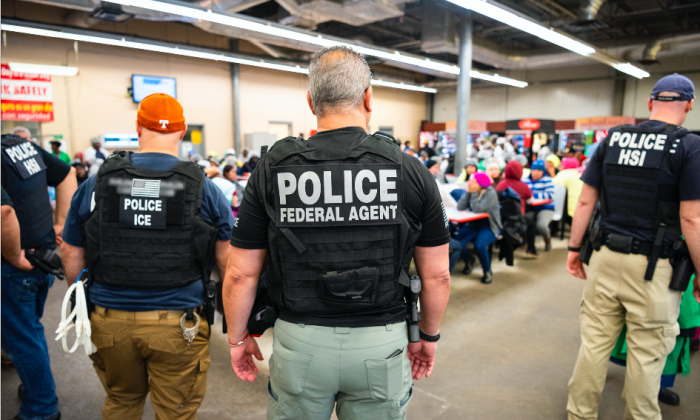 ICE arrests suspected illegal immigrant workers during a worksite enforcement operation at a meat processing plant in Canton, Miss., on Aug. 7, 2019. (ICE)