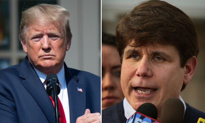President Donald Trump (Saul Loeb/AFP/Getty Images) and Rod R. Blagojevich (Scott Olson/Getty Images)