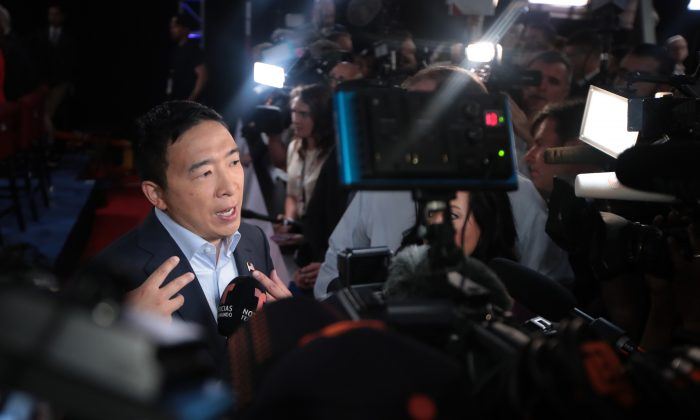 Democratic presidential candidate former tech executive Andrew Yang speaks to reporters after the the Democratic Presidential Debate at the Fox Theatre in Detroit on July 31, 2019. (Scott Olson/Getty Images)