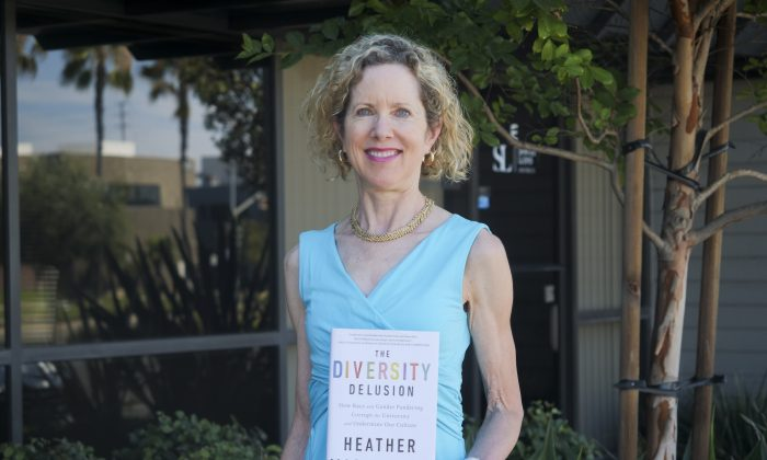 "Manhattan Institute fellow Heather Mac Donald, author of ""The Diversity  Delusion,"" in Irvine, California on July 28. (Ke Yuan/Epoch Times)"
