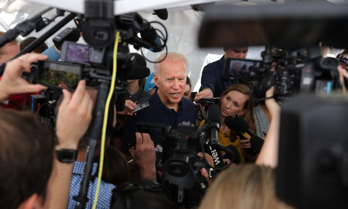 Democratic presidential candidate and former Vice President Joe Biden talks to journalists during the Iowa State Fair in Des Moines, Iowa on Aug. 8, 2019. (Chip Somodevilla/Getty Images)