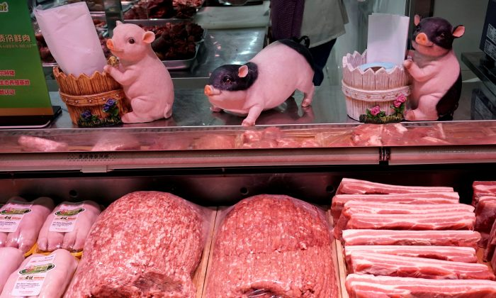 Pork for sale is seen at a supermarket in Beijing, China on April 11, 2019.. (Jason Lee/Reuters)