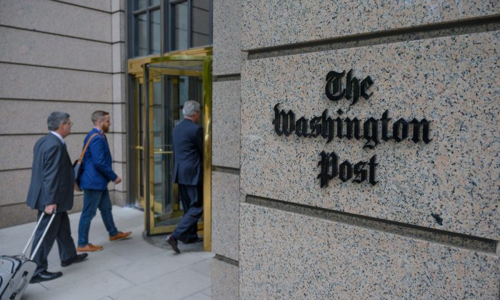 The Washington Post headquarters s seen on K Street in Washington in a file photograph. (Eric Baradat/AFP/Getty Images)