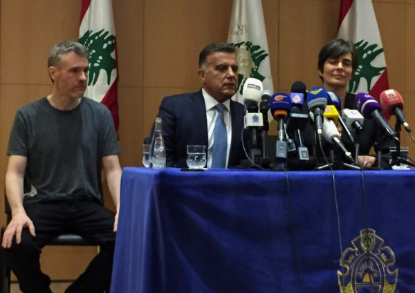 Canadian citizen, Kristian Lee Baxter, who was being held in Syria, sits next to Major General Abbas Ibrahim, Lebanon's internal security chief, after being released, at a news conference in Beirut, Lebanon August 9, 2019. (Mohamed Azakir/Reuters)