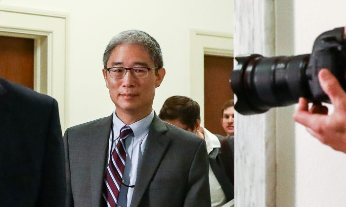 Bruce Ohr, a Justice Department official demoted from the posts of associate deputy attorney general and director of the Organized Crime Drug Enforcement Task Force, leaves for a lunch break from a closed hearing with the House Judiciary and House Oversight and Government Reform committees on Capitol Hill in Washington, on Aug. 28, 2018. (Samira Bouaou/The Epoch Times)
