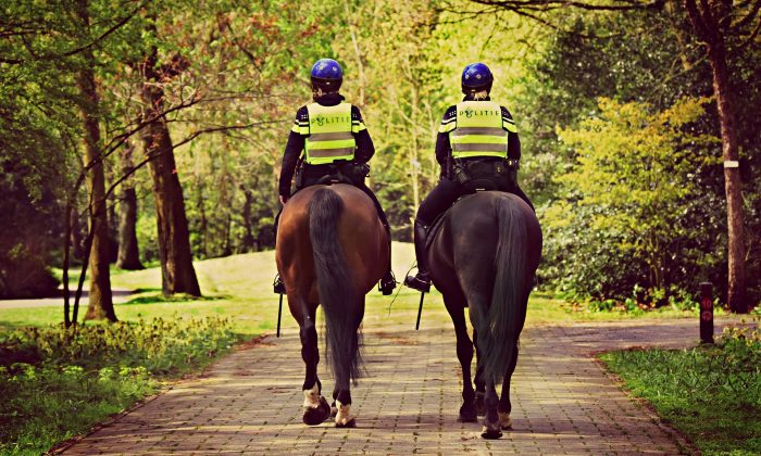 A picture of mounted police riding on horses. (Mabel Amber, still incognito/Pixabay)