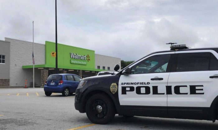 Springfield police respond to a Walmart in Springfield, Mo., Thursday afternoon, Aug. 8, 2019. (Harrison Keegan/The Springfield News-Leader via AP)