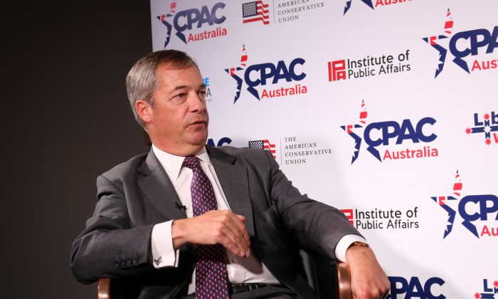 Nigel Farage at the CPAC Australia conference in Sydney, Australia, on Aug. 10, 2019. (The Epoch Times)