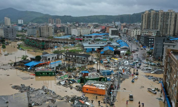 Dajing town is seen damaged and partially submerged in floodwaters in the aftermath of Typhoon Lekima in Leqing, Zhejiang province, China Aug. 10, 2019. (Zhejiang Daily/Reuters)