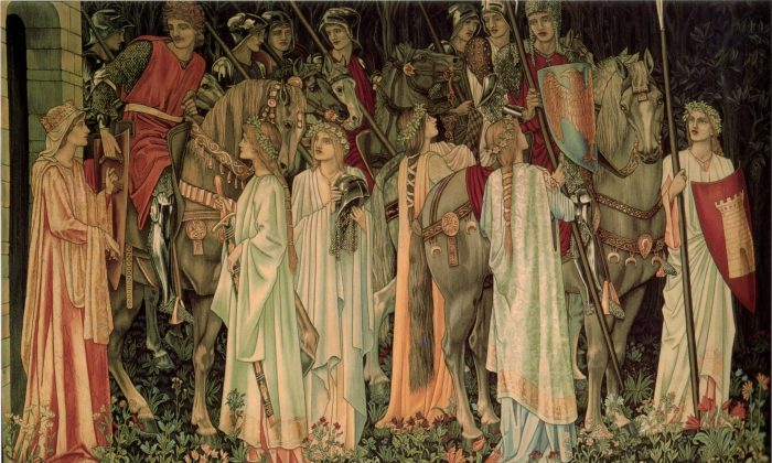 """The Arming and Departure of the Knights,"" number 2 of the Holy Grail tapestries, overall design and figures by Sir Edward Burne-Jones, woven by Morris & Co. 1891-94 for Stanmore Hall. This version woven by Morris & Co. for Lawrence Hodson of Compton Hall 1895-96. Wool and silk on cotton warp. Birmingham Museum and Art Gallery. (Public Domain)"
