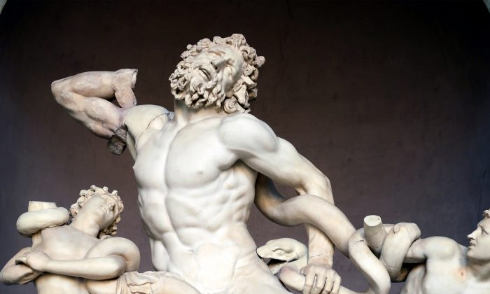 "•	A detail from ""Laocoön and his sons,"" 40–30 B.C, attributed by Pliny the Elder to Agesander, Athenodoros, and Polydorus. Marble, 6 feet 10 inches high by 5 feet 4 inches wide by 3 feet 8 inches deep. Vatican Museum, Italy. (CC BY-SA 4.0)"