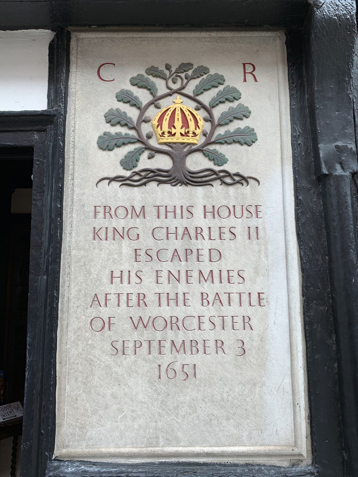 A sign at the King Charles House pub in Worcester