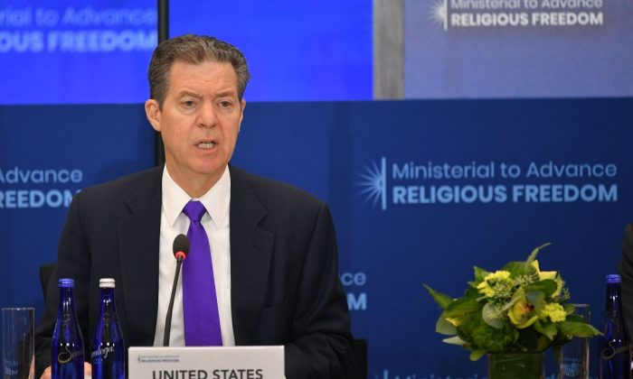 US Ambassador-at-Large for International Religious Freedom Sam Brownback speaks during the second Ministerial to Advance Religious Freedom in the Loy Henderson Auditorium of the State Department in Washington, on July 18, 2019. (Mandel Ngan/AFP/Getty Images)