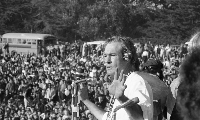 "Psychedelic drug guru Timothy Leary urges a crowd of hippies to ""turn on, tune in, and drop out"" in Golden Gate Park, San Francisco, on Jan. 14, 1967. From the late 1960s on, the road has been open for succeeding generations of liberal elites to establish an enormously politicized and self-serving standard of civility. (AP Photo/Bob Klein)"