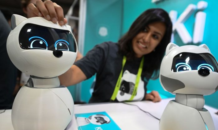 Companion robot Kiki the cat at CES 2019 consumer electronics show at the Las Vegas Convention Center on Jan. 9. (ROBYN BECK/AFP/Getty Images)