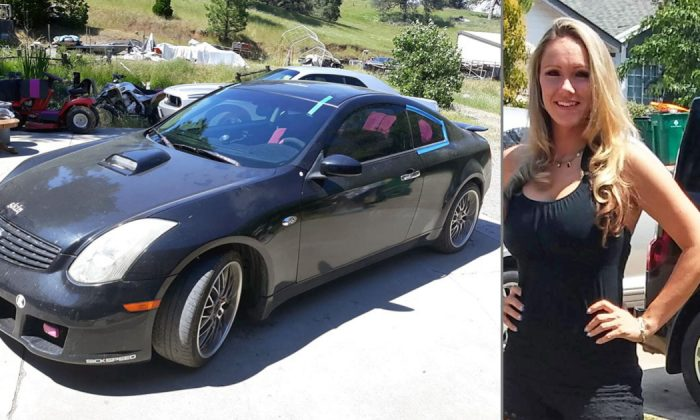 A 2005 Infinity G35 coupe has been found belonging to missing mom Heather Gumina (R) in El Dorado County, Calif., on August 9, 2019. (El Dorado County Sheriff's Office/Facebook)