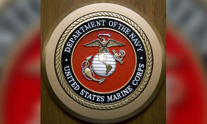 The U.S. Department of the Navy, U.S. Marine Corps, seal hangs on the wall at the Pentagon in Washington on Feb. 24, 2009. (Paul J. Richards/AFP/Getty Images)
