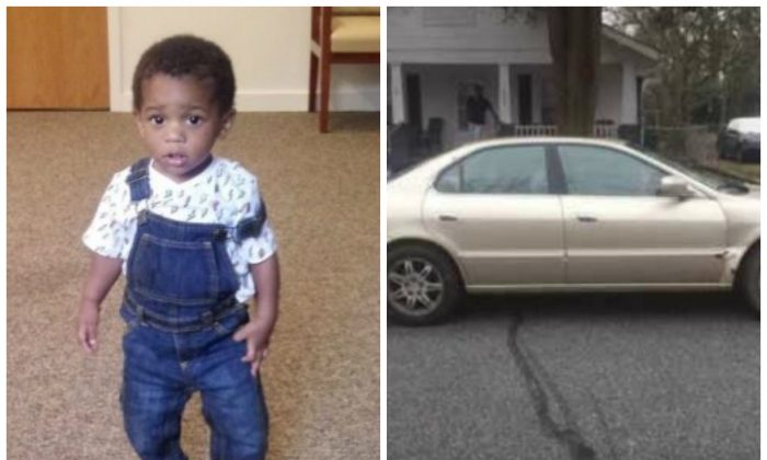 Legend Masir Goodwine, 1, was abducted on Aug. 11, 2019. He was found safe on Aug. 12, 2019. (R) The vehicle he was inside. (High Point Police Department)