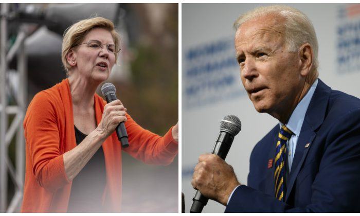 (L)-Democratic presidential candidate Sen. Elizabeth Warren (D-Mass.) speaks to a crowd at the Iowa State Fair in Des Moines, Iowa on Aug. 10, 2019. (Sergio Flores/Getty Images) (R)-Democratic presidential candidate and former Vice President Joe Biden speaks on stage during a forum on gun safety at the Iowa Events Center in Des Moines, Iowa on Aug. 10, 2019. (Stephen Maturen/Getty Images)