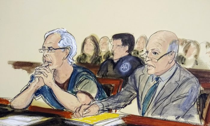 In this July 15, 2019 courtroom artist's sketch, defendant Jeffrey Epstein, left, and his attorney Martin Weinberg listen during a bail hearing in federal court, in New York. (Elizabeth Williams via AP, File)