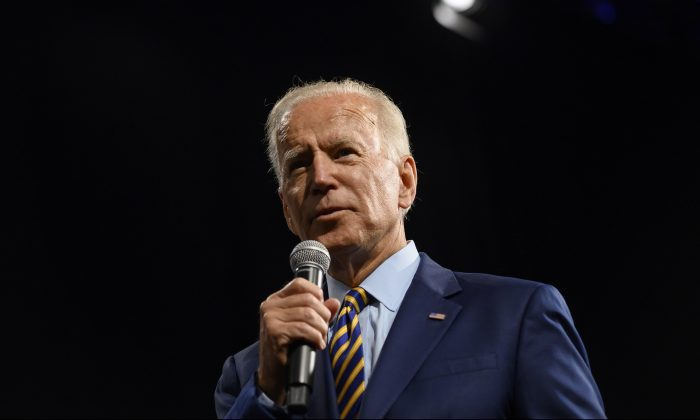 Democratic presidential candidate and former Vice President Joe Biden speaks on stage during a forum on gun safety at the Iowa Events Center in Des Moines, Iowa on Aug. 10, 2019. (Photo by Stephen Maturen/Getty Images)