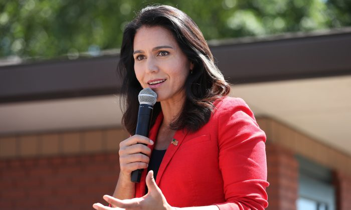 Democratic presidential candidate Rep. Tulsi Gabbard (D-Hawaii) delivers a campaign speech during the Iowa State Fair in Des Moines, Iowa, on Aug. 09, 2019. (Chip Somodevilla/Getty Images)