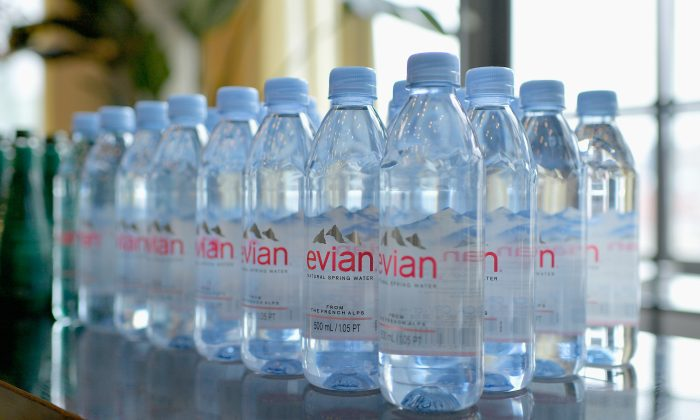 A detail view of Evian bottled water at Spring Studios in New York City on Feb 8, 2019. (Roy Rochlin/Getty Images)