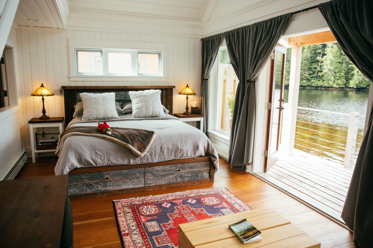 Inside the cabins at Nimmo Bay Wilderness Resort. (Courtesy of Nimmo Bay Wilderness Resort)