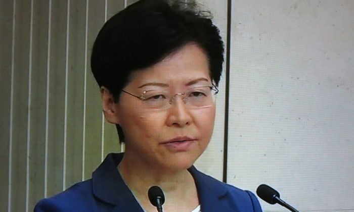 A screengrab taken from AFPTV video footage shows Hong Kong leader Carrie Lam speaking during a press conference in Hong Kong on Aug. 13, 2019. (STR/AFP/Getty Images)
