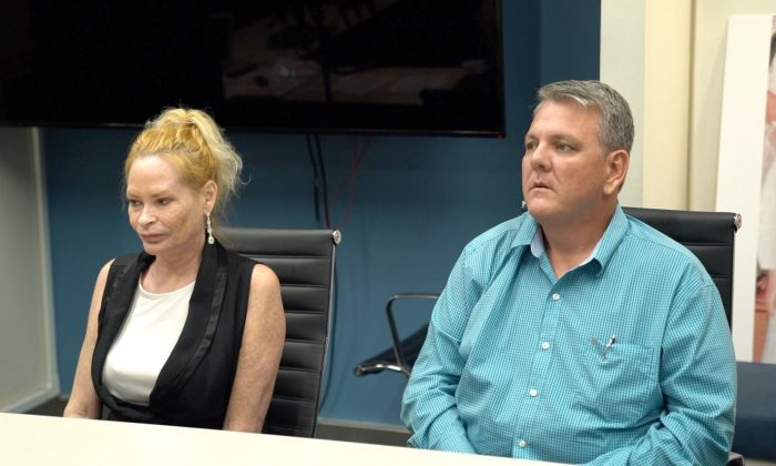 Heather Steele (L) and John Michael Ewing (R) sitting during the press conference hosted by The Zalkin Law Firm, P.C., on Aug. 12, in New York, New York. (Shenghua Sung/NTD News)