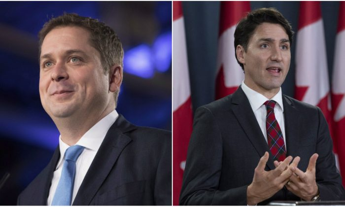 Canadian Prime Minister Justin Trudeau (R) and Federal Conservative Leader Andrew Scheer (L). (Adrian Wyld/Chris Young/The Canadian Press)