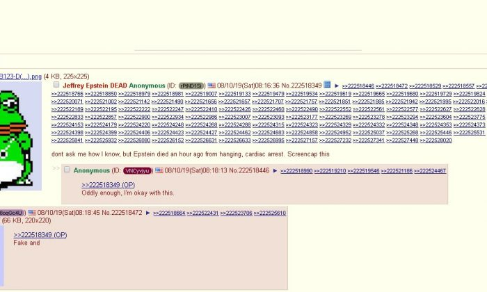 A 4chan user claimed to know about the death of Jeffrey Epstein before his death was officially reported in the media. (Screenshot/4chan.org)