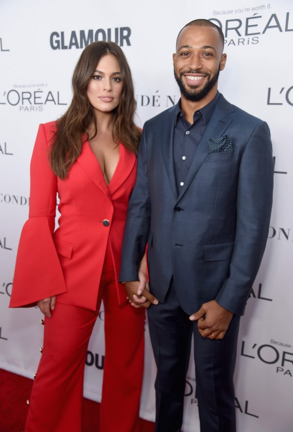 Ashley Graham and Justin Ervin attend Glamour's 2017 Women of The Year Awards