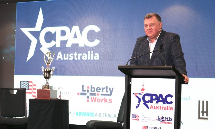Australian center-right Liberal MP Craig Kelly speaks at CPAC Australia on Aug. 10, 2019. (The Epoch Times)