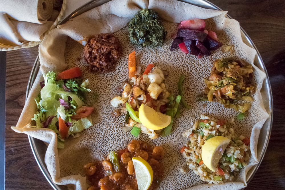 Injera is a sourdough flatbread made from teff flour