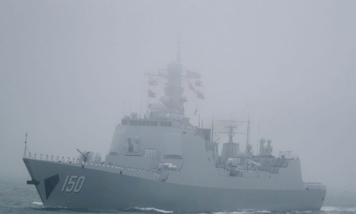 The type 052C destroyer Changchun of the Chinese People's Liberation Army (PLA) Navy participates in a naval parade in eastern China's Shandong Province on April 23, 2019. (Mark Schiefelbein/AFP/Getty Images)