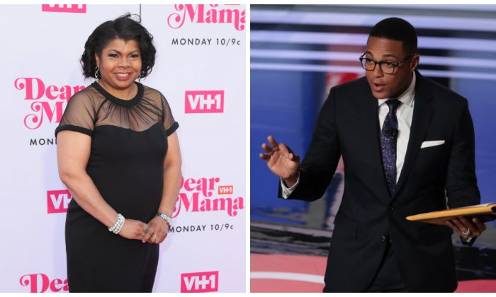 """(L)-April Ryan attends VH1's Annual """"Dear Mama: A Love Letter To Mom"""" at The Theatre at Ace Hotel in Los Angeles, on May 2, 2019. (Leon Bennett/Getty Images) (R)-CNN moderator Don Lemon speaks to the crowd attending the Democratic Presidential Debate at the Fox Theatre in Detroit, Michigan, on July 31, 2019. (Scott Olson/Getty Images)"""